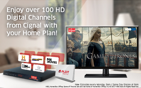 Enjoy over 100 HD Digital Channels from Cignal with your Home Plan!