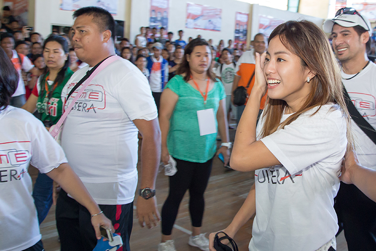 Gretchen Ho, volleyball player and TV host, arrives to host the volleyball clinic.