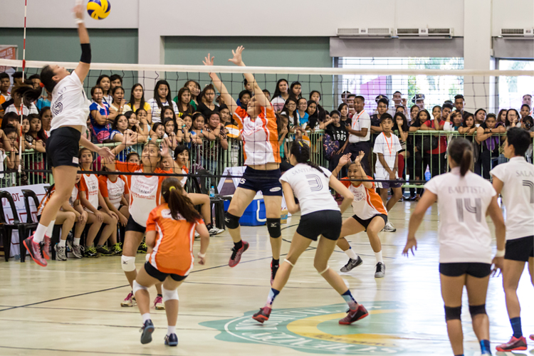 The Dasmarinas female team faces off against the Amihan volleyball superstars