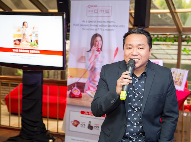 PLDT VP and Home Marketing Head Gary Dujali introduces PLDT HOME's new celebrity ambassador for the special Mother's Day campaign to the entertainment press.