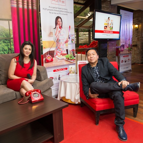 PLDT VP and Home Marketing Head Gary Dujali with Regine Velasquez during the latter's official press launch for the special Mother's Day campaign