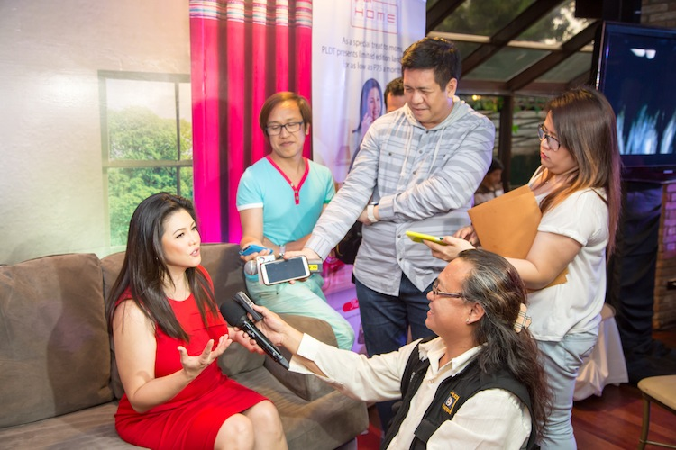 Regine Velasquez addresses questions from members of the entertainment press during her official launch as new ambassador for PLDT HOME's new landline campaign