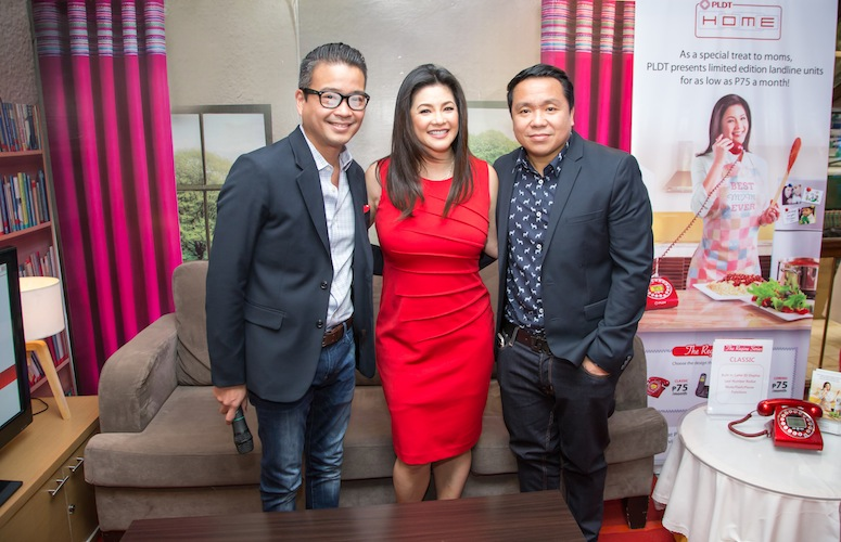 PLDT HOME welcomes Asia's Songbird. In photo with Regine Velasquez (center) are PLDT VP and Home Marketing Head Gary Dujali (right) and PLDT VP and Head of Home Voice Solutions Patrick Tang (left).