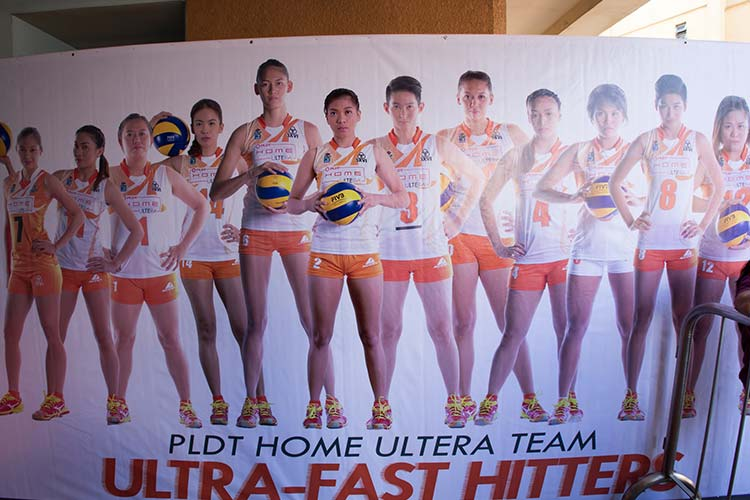 A banner featuring members of the PLDT Home Ultera Ultra Fast Hitters is posted outside the FilOil Flying V Arena in Game 3 of the Shakey's V-League Open Conference finals.