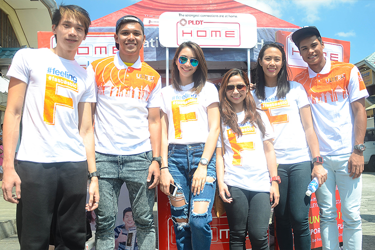 The Amihan and Bagwis volleyball spikers at one of the PLDT HOME Ultera booths.